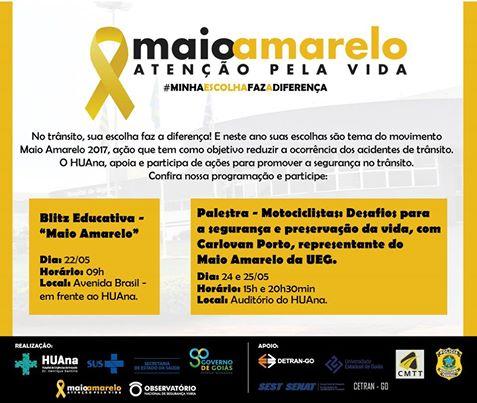 Hospital de Urgências de Anápolis Dr. Henrique Santillo promove Blitz Educativa em apoio ao movimento Maio Amarelo.